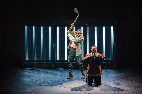 (from left) Grantham Coleman as Hamlet and Cornell Womack as King Claudius in Hamlet, Photo