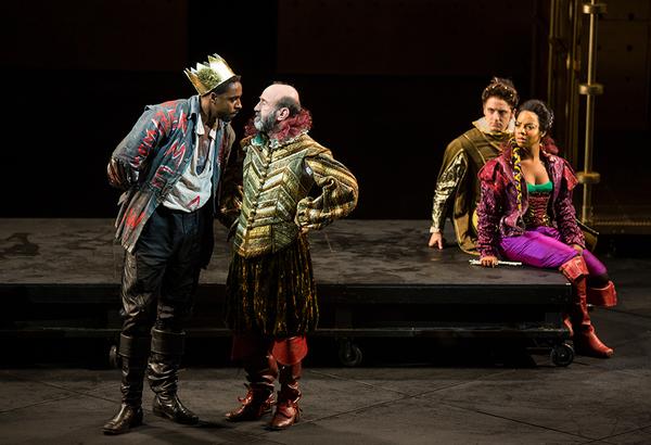 (from left) Grantham Coleman as Hamlet Patrick Kerr as Polonius, Kevin Hafso-Koppman  Photo