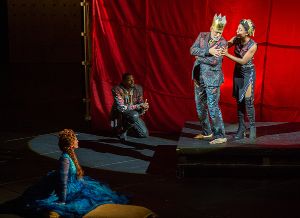 (from left) Talley Beth Gale as Ophelia, Grantham Coleman as Hamlet, Michael Genet as Player King, and Christina A. Okolo as Player Queen in Hamlet, by William Shakespeare, directed by Barry Edelstein, running August 6 - September 10, 2017. Photo by Jim C