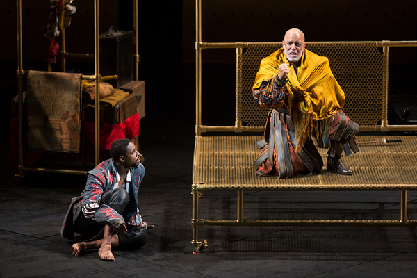 (from left) Grantham Coleman as Hamlet and Michael Genet as Gravedigger in Hamlet, by Photo