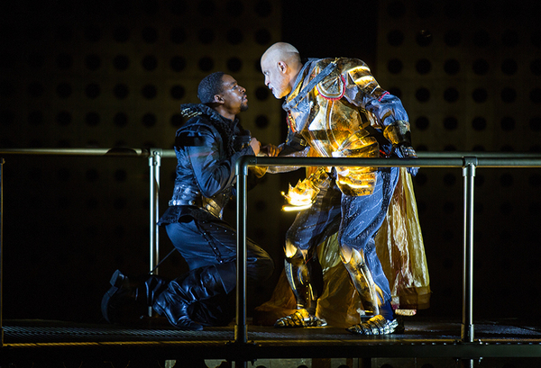 (from left) Grantham Coleman as Hamlet and Michael Genet as The Ghost in Hamlet, by W Photo