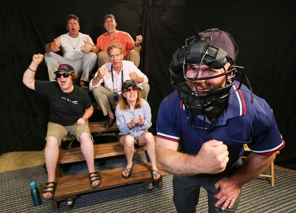 "Parents at a Little League ball game in ""Lessons Learned""  by Jenny Weaver, one of ten local plays featured in the 2017 Island theatre Ten-Minute Play Festival, August 18 & 19, at BPA.  (L to R: Kimberly Parker, Wayne Purves, Geoff Schmidt, Jeffery Brown,"