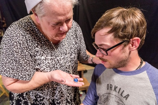 """A GI nurse (Karen Hauser) shares a special story with a wounded WWII soldier (Matt Howe) in """"Memories of the American Occupation� by Paul Lewis, directed by Fred Saas."""