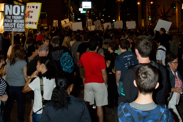 Photo Coverage: Michael Moore Leads Protest from Broadway to Trump Tower