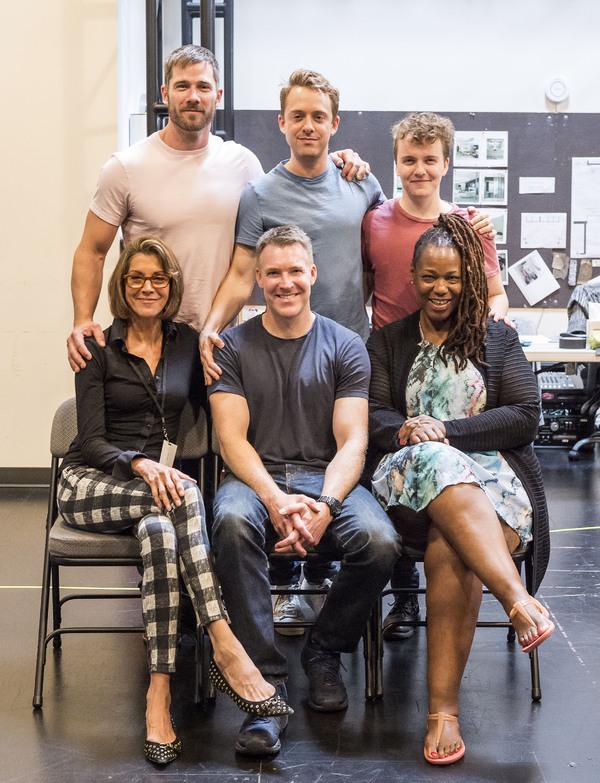 (back row) Cast members Luke Macfarlane, Max Jenkins and Tom Phelan; (front row) Wendie Malick, Brian Hutchison and Kecia Lewis