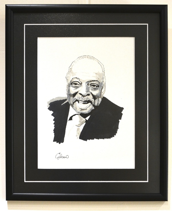 Count Basie, circa 1979. Ink drawing on paper. Signed by artist.