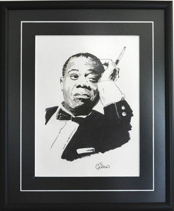 Louis Armstrong, circa 1960. Ink drawing on paper. Signed by artist.