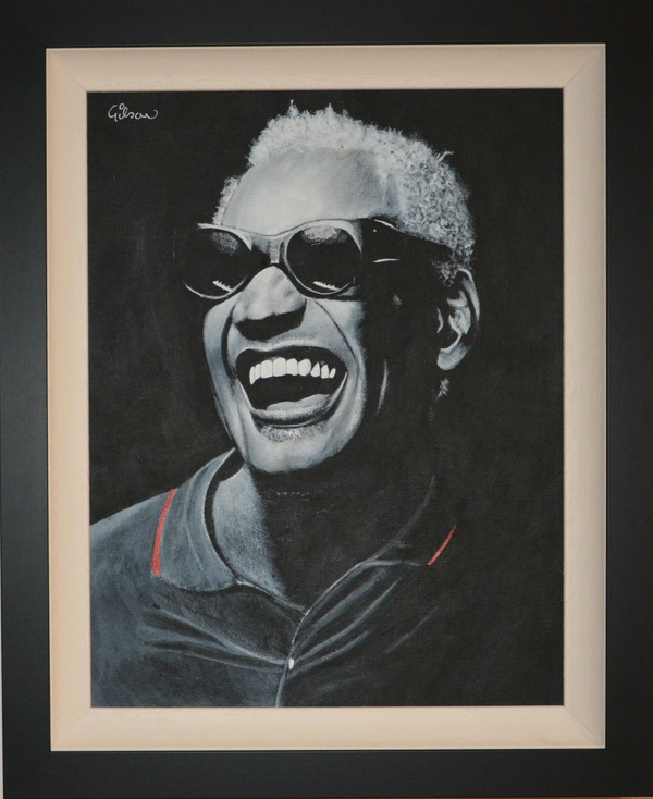 Ray Charles, circa 1986. 18.25 x 22.5 inches. Acrylic on canvas board. Signed by artist.
