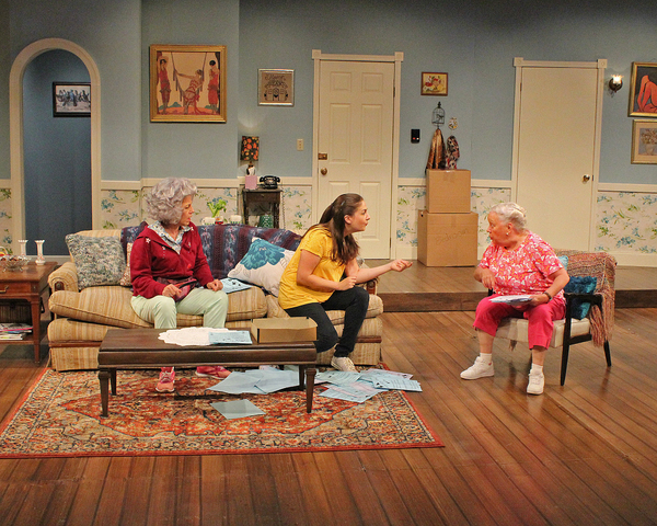 """Caiti Marlowe as Heather Van Pree, Jennifer Brunker as Bridget Charles and Peggy Lewis as Sylvia Charles in Cortland Repertory Theatre's production of """"Nana's Naughty Knickers""""."""