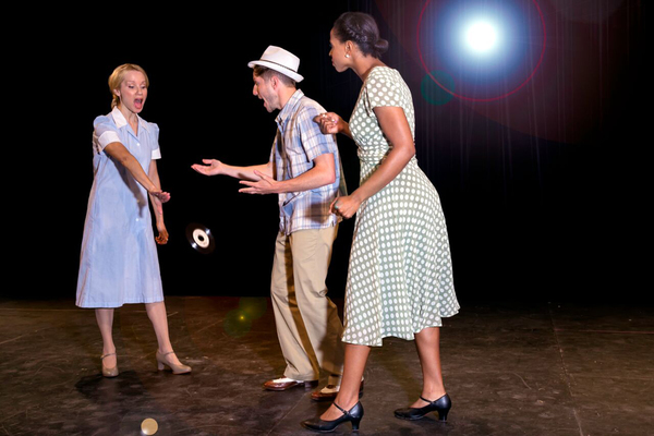 """Huey's mother, Gladys, throws Felicia's newly recorded song to the ground. From left are Maureen Hackett as Gladys, Matt Coakley as Huey, and Tamika Reed as Felicia. """"Memphis� is presented by PinnWorth Productions at MCCC's Kelsey Theatre Sept. 8 to"""