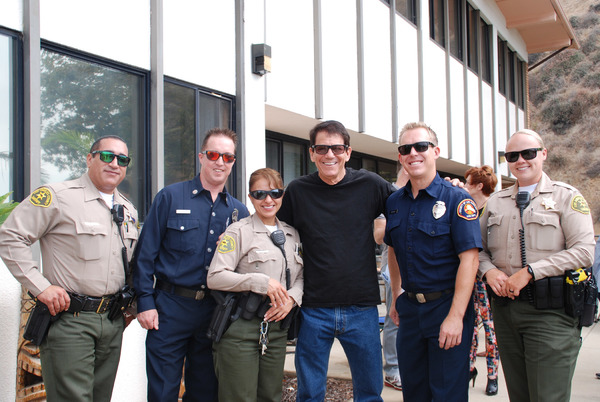 Anson Williams with Members of LA County Fire Dept, station 70 and LA County Sheriffs Dept.