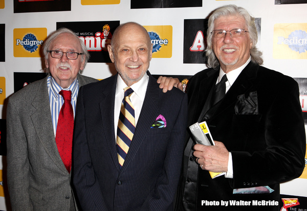 Thomas Meehan, Charles Strouse, Martin Charnin & James Lapine attending the Broadway Opening Night Performance After Party for 'Annie' at the Hard Rock Cafe in New York City on 11/08/2012