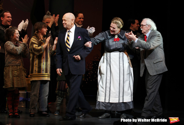 Charles Strouse, Liz McCartney & Thomas Meehan during the Broadway Opening Night Performance Curtain Call for 'Annie' at the Palace Theatre in New York City on 11/08/2012