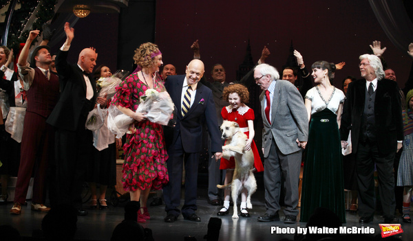 Clarke Thorell, Anthony Warlow, Katie Finneran, Charles Strouse, Lilla Crawford, Sunny, Thomas Meehan, Brynn O'Malley & Martin Charnin during the Broadway Opening Night Performance Curtain Call for 'Annie' at the Palace Theatre in New York City on 11/08/2