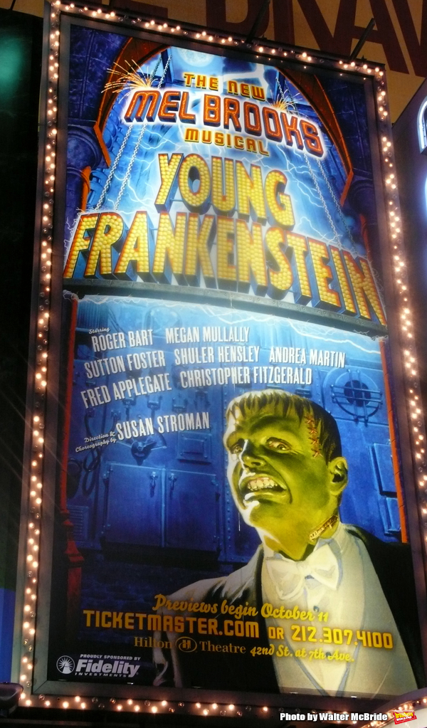 Theatre Marquee - The musical Young Frankenstein, which features music by Mel Brooks, book by Brooks and Thomas Meehan based on Brooks' 1974 film, and direction and choreography by Susan Stroman. Hilton Theatre in New York City. October 27, 2007.