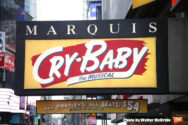 Theatre Marquee for Cry-Baby, based upon the Universal Pictures film written and directed by John Waters, features songs by David Javerbaum and Adam Schlesinger, with a book by Mark O'Donnell and Thomas Meehan. Mark Brokaw directs, with choreography by Ro