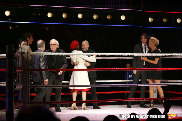 Thomas Meehan, Stephen Flaherty, Lynn Ahrens, Stephen Hoggett,, Margo Seibert, Alex Timbers and Kelly Devine during the Broadway Opening Night Performance curtain call for 'Rocky on Broadway' at the Winter Garden Theatre on March 13, 2014 in New York City