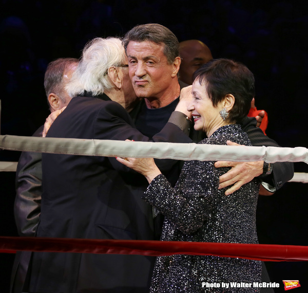 Thomas Meehan, Lynn Ahrens and Sylvester Stallone during the Broadway Opening Night Performance curtain call for 'Rocky on Broadway' at the Winter Garden Theatre on March 13, 2014 in New York City.