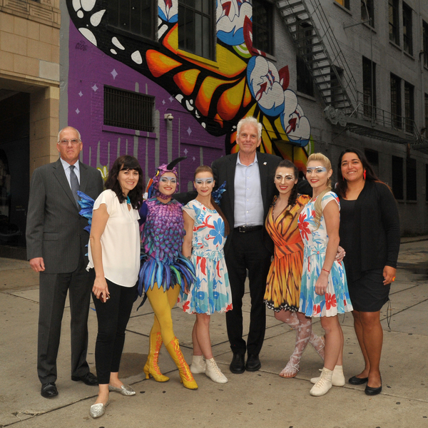 Cirque du Soleil's LUZIA artists with Stan Wearden, Provost of Columbia College Chicago; Neysa Page-Lieberman, Wabash Arts Corridor Chief Curator and Executive Director of Columbia's Department of Exhibitions and Performance Spaces; Mark Kelly, Commissi