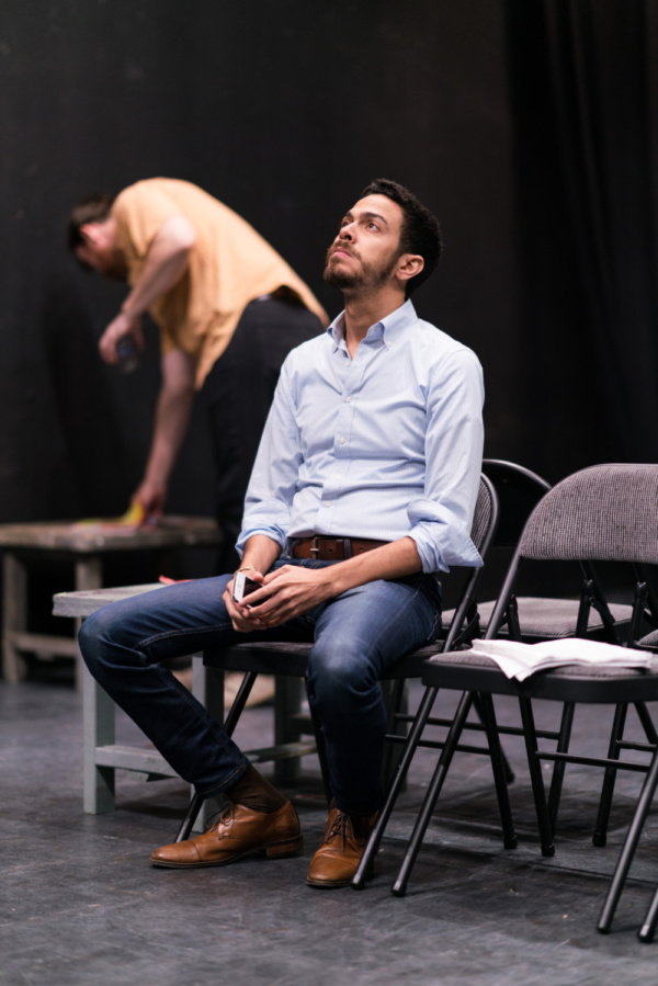 In the rehearsal room with Ten Bones Theatre Company's In a Little Room with actors Jeb Kreager & Luis-Daniel Morales   Photo credit Zachary Zirlin Photography