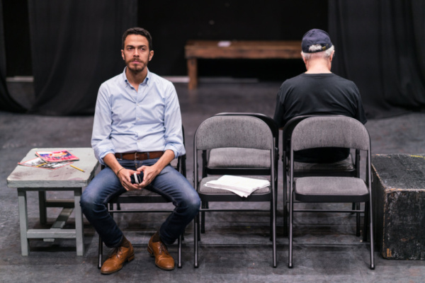 In the rehearsal room with Ten Bones Theatre Company's In a Little Room with actors Luis-Daniel Morales & David Triacca  Photo credit Zachary Zirlin Photography