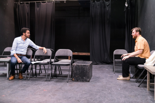 In the rehearsal room with Ten Bones Theatre Company's In a Little Room with actors Luis-Daniel Morales & Jeb Kreager   Photo credit Zachary Zirlin Photography