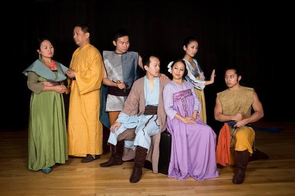 The principals, from left to right: imperious Lady Tsui (Joy Tamayo), reverent Superior (Tony Romero), noble General Du (Jee-Heng Liao), lovestruck Chang (Charles Pang), flirtatious Ying-ying (Jessica Wu), cunning Hong-Niang (Mari Uchida) and villainous F