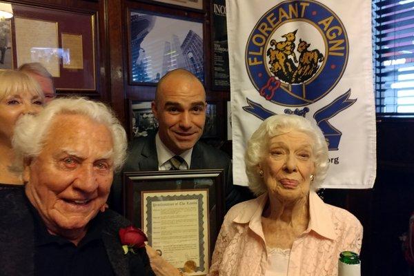Joe Sirola, Sean Ricketts and Joyce Randolph
