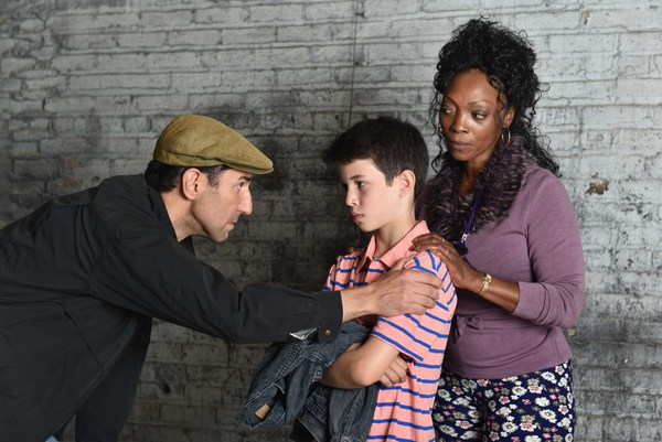 "(L to R) Sean Fortunato, Jacob Kaiser and Shanésia Davisr  as ""Dad,� ""Billy Elliot,� and  ""Mrs. Wilkinson�"