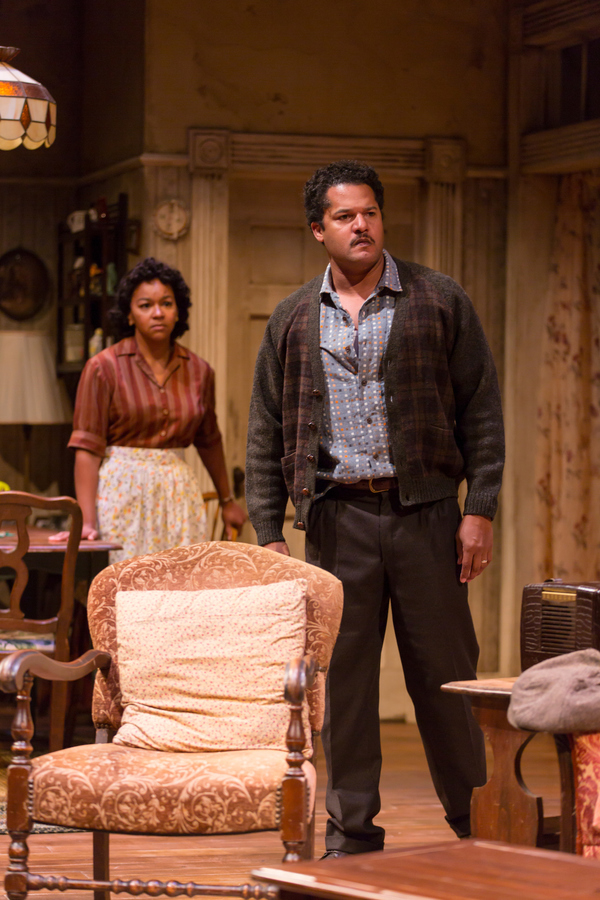 Crystal A. Dickinson (Ruth Younger) and Brandon J. Dirden (Walter Lee Younger) in in A Raisin in the Sun at Two River Theater.