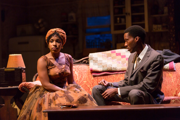 Jasmine Batchelor (Beneatha Younger) and York Walker (George Murchison) in A Raisin in the Sun at Two River Theater.