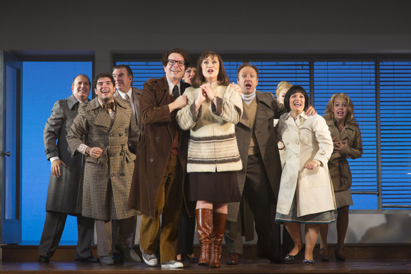The company of the MERRILY WE ROLL ALONG at Huntington Theatre Company
