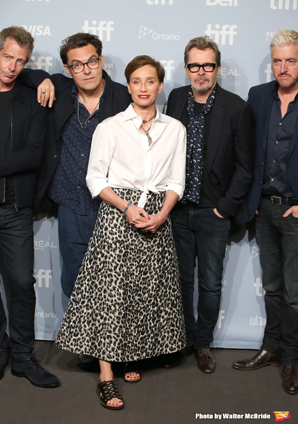 Stephen Dillane, director Joe Wright, Kristin Scott Thomas, Gary Oldman and screenwriter Anthony McCarten