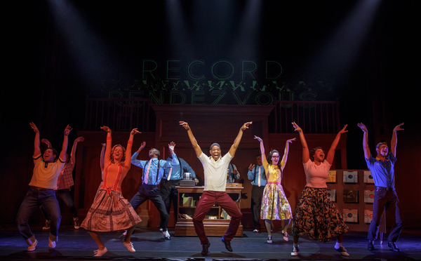 The cast of ROCK AND ROLL MAN: THE ALAN FREED STORY at Bucks County Playhouse