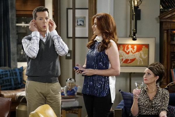 "WILL & GRACE -- ""11 Years Later"" Episode 101 --  Pictured: (l-r) Sean Hayes as Jack McFarland, Debra Messing as Grace Adler, Megan Mullally as Karen Walker -- (Photo by: Chris Haston/NBC)"