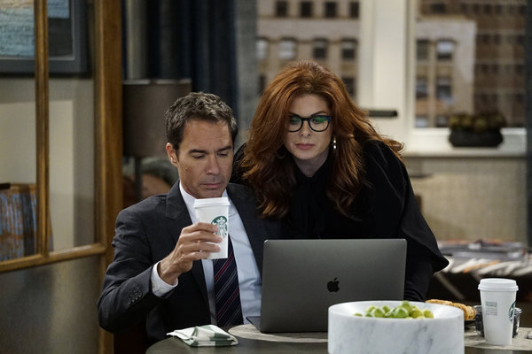 """WILL & GRACE -- """"11 Years Later"""" Episode 101 --  Pictured: (l-r) Eric McCormack as Will Truman, Debra Messing as Grace Adler -- (Photo by: Chris Haston/NBC)"""