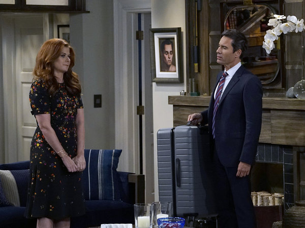 """WILL & GRACE -- """"11 Years Later"""" Episode 101 --  Pictured: (l-r) Debra Messing as Grace Adler, Eric McCormack as Will Truman -- (Photo by: Chris Haston/NBC)"""