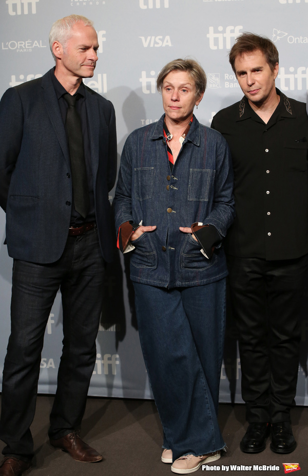 Martin McDonagh, Frances McDormand and Sam Rockwell