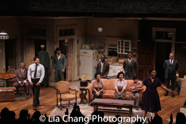 Two River Theater's A RAISIN IN THE SUN opening night curtain call with Willie Dirden, Brandon J. Dirden, Andrew Binger, David Joel Rivera, Jasmine Batchelor, Charlie Hudson III, Crystal A. Dickinson, York Walker, Owen Tabaka, Brenda Pressley and Na