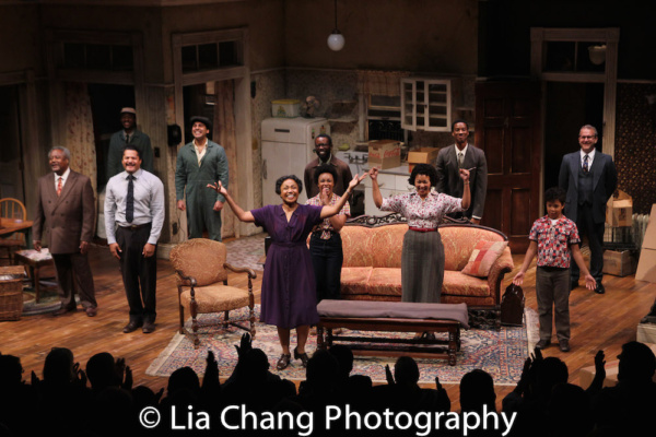 Two River Theater's A RAISIN IN THE SUN opening night curtain call with Willie Dirden, Brandon J. Dirden, Andrew Binger, David Joel Rivera, Brenda Pressley, Jasmine Batchelor, Charlie Hudson III, Crystal A. Dickinson, York Walker, Owen Tabaka, and N