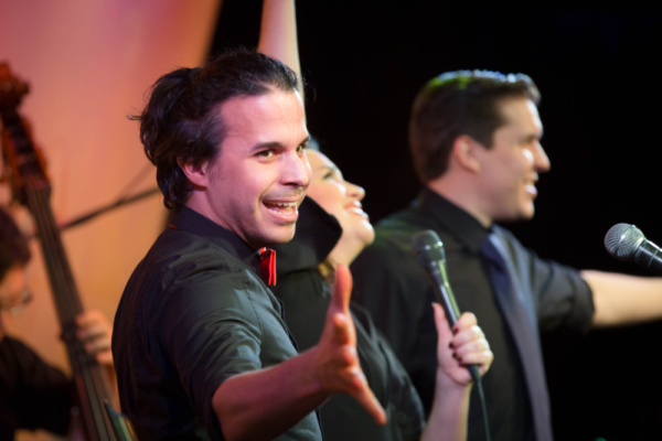 Hanna Burke with Adrian Rifat (left) and Will Anderson (far right) in her cabaret Why is Everyone Laughing? A Tribute to Madeline Kahn and Benefit for Ovarian Cancer at the Metropolitan Room. Photo taken by Micah Joel.