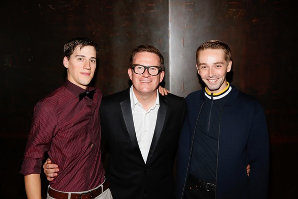 Company member Dominic North, choreographer Sir Matthew Bourne and company member Liam Mower