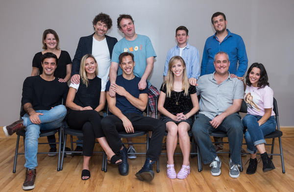 The Cast & Creative Team: (standing left to right) Kristen Rosenfeld (music director), Paul Stancato (director), Bob McSmith (book/lyrics), Tobly McSmith (book lyrics), Assaf Gleizner (music); (seated left to right) Alan Trinca, Patricia Sabulis, LandonZw