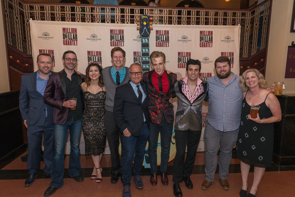 (from left) Paramount Theatre's cast and crew celebrate the opening of Million Dollar Quartet. From left:  assistant stage manager Matthew McMullen, associate music director Ethan Deppe, Courtney Mack (Dyanne), Scott Simon (Fluke), director Jim Corti, G