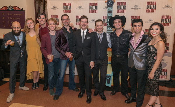 Paramount Theatre's cast and crew celebrate the opening of Million Dollar Quartet. From left: Jake Saleh (u/s Brother Jay), Jessie Pinnick (Marion Kiesker), Zachary Stevenson (u/s Carl Perkins), Michael Kurowski (u/s Jerry Lee Lewis), associate music di