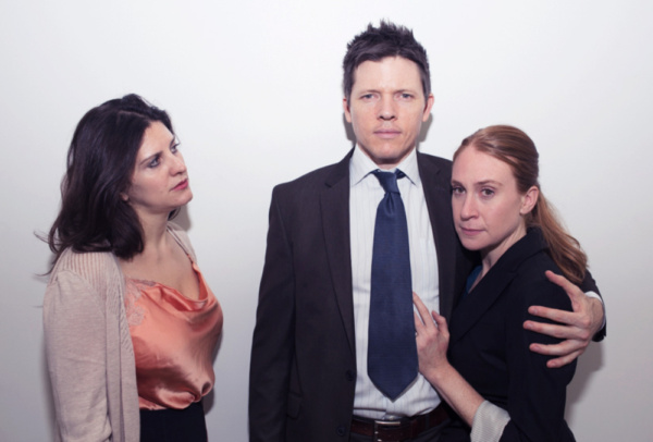 NYC Premiere of Kieron Barry's Tomorrow in the Battle October 11-28 at Theater 511  Pictured: Allison Threadgold, Patrick Hamilton, and Ruth Sullivan Photo credit: George McClintock