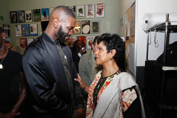 Playwright Tarell Alvin McCraney and cast member Phylicia Rashad