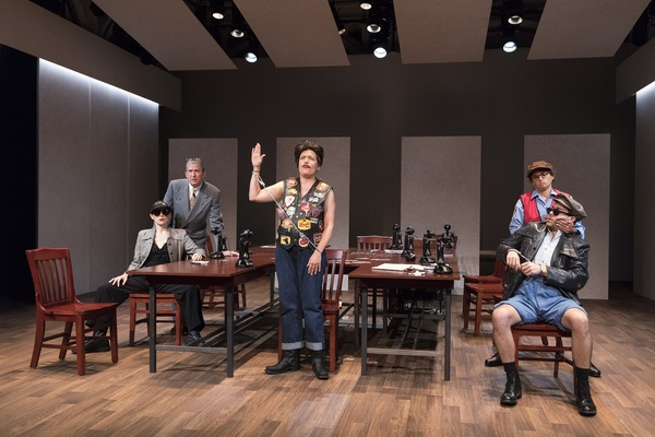 The company of Elevator Repair Service's MEASURE FOR MEASURE, running at The Public Theater
