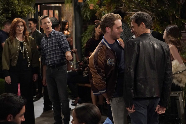 """WILL & GRACE -- """"Who's Your Daddy?"""" Episode 102 --  Pictured: (l-r) Debra Messing as Grace Adler, Sean Hayes as Jack McFarland, Ben Platt as Blake, Eric McCormack as Will Truman -- (Photo by: Chris Haston/NBC)"""