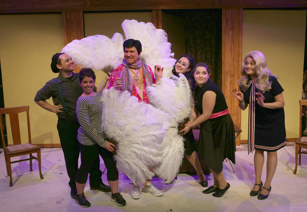 (center) Ed Jones as Uncle Arthur with (left to right) Travis Monroe Neese, Sarah Taylor, Jennifer Ledesma, Kira Gaudynski and Elizabeth Morgan as Samantha in Hell in a Handbag Productions' world premiere musical BEWILDERED. Photo by Rick Aguilar Studio